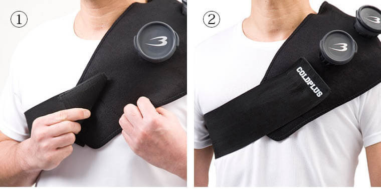 アイシングサポーターCOLDPLUS ショルダー スポーツ用 普段使い ブラックxイエロー 肘 氷嚢