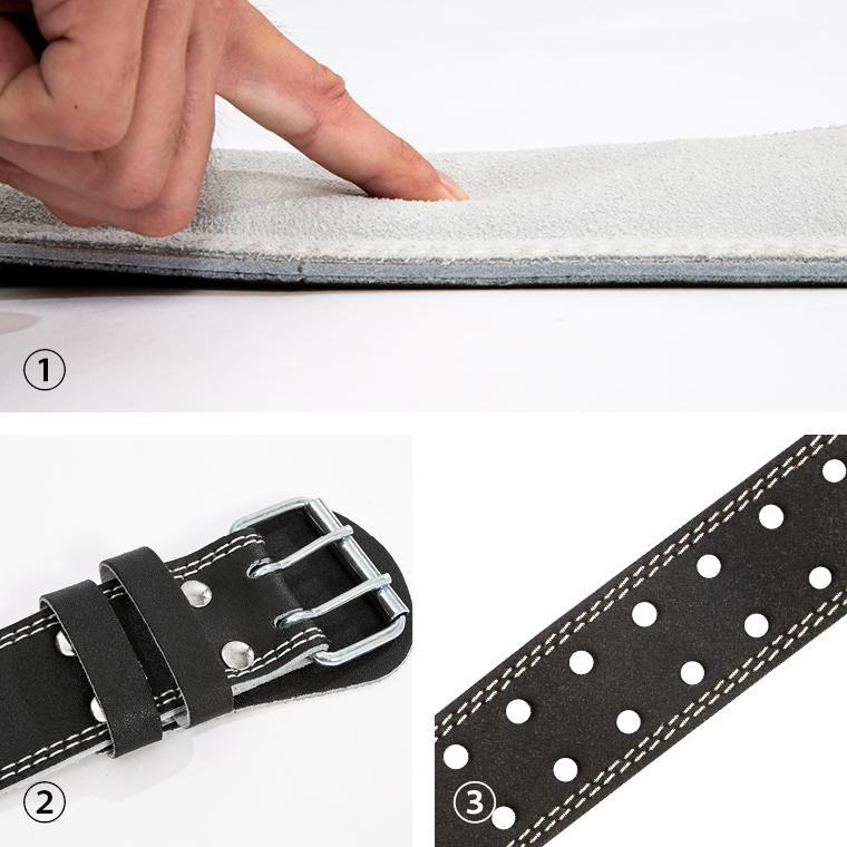 レザーベルト トレーニングベルト、二つ穴、丈夫なレザー製、耐久性