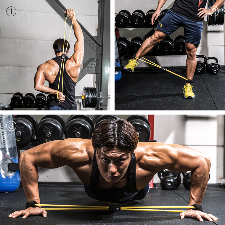 トレーニングチューブショート ブラック×イエロ 大胸筋 肩甲骨 上腕 体幹